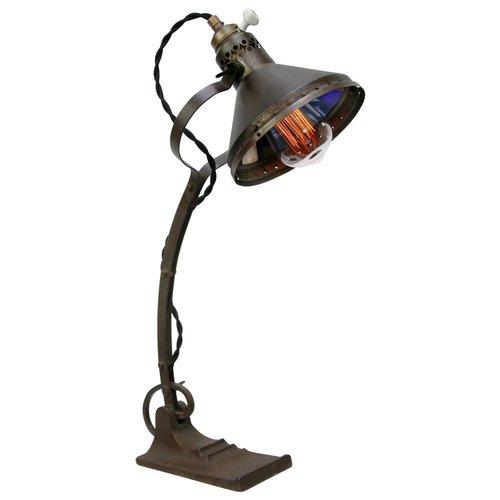 Lampada Da Tavolo Vintage Industriale In Metallo Ottone Vetro Di Mercurio E Ghisa In Vendita Su Pamono
