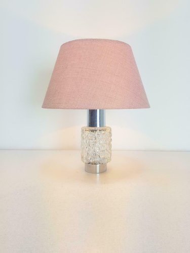 Vintage Chrome & Frosted Glass Table Lamp, 1960s