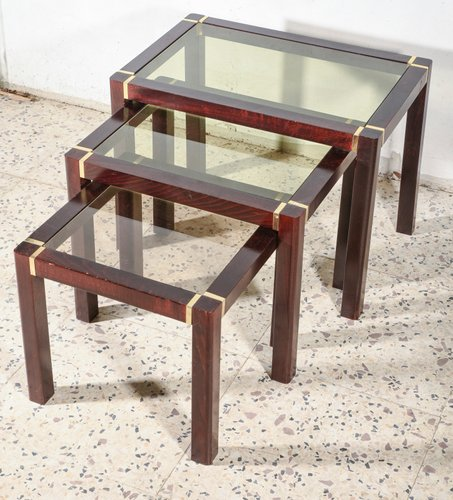 Wooden Triptych Coffee Tables With, Wood End Tables With Glass Top