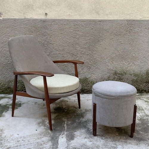 Italian Armchair Small Ottoman By, Small Modern Armchair