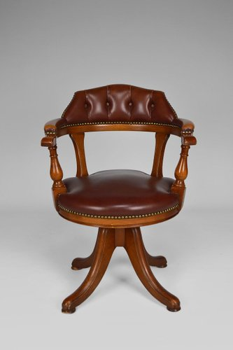 Vintage Chesterfield Style Wood And Leather Office Swivel Chair Bei Pamono Kaufen
