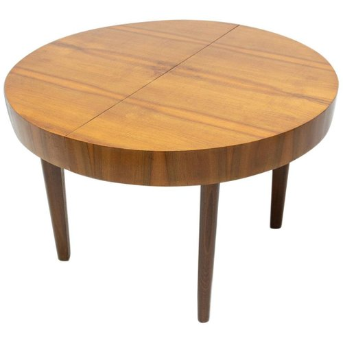 Mid Century Round Folding Dining Table In Walnut By Jindrich Halabala Czechoslovakia 1950s For Sale At Pamono