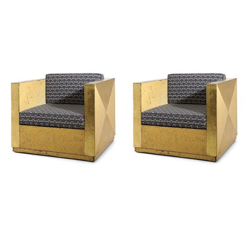 Vintage Art Deco Style Golden Lounge Chairs Set Of 2 For Sale At Pamono