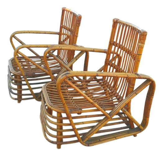 Lounge Chairs Rattan Coffee Table By, Paul Frankl Rattan Furniture