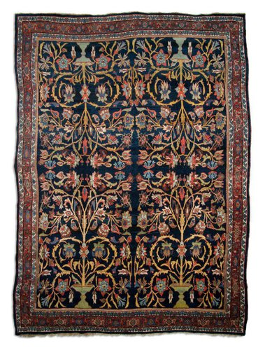 Antique Middle East Dark Blue Rug With Border For Sale At Pamono