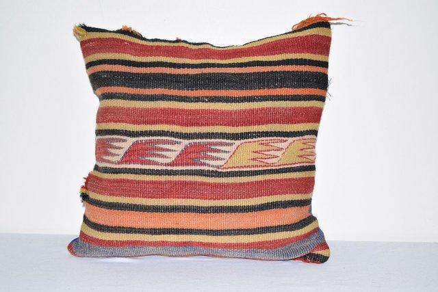 Turkish Kilim Pillow Cover Kilim Pillow Case Anatolian Pillow 40x40 Strip Pillow Cushion Cover Hand Woven Pillow Decorative Pillow27*