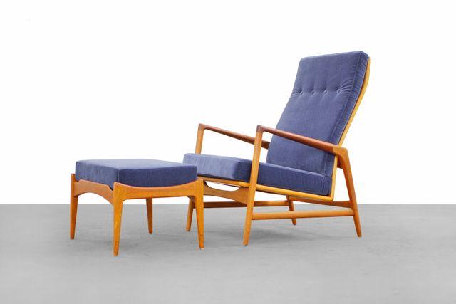 Danish Modern Lounge Chair U0026 Ottoman By Ib Kofod Larsen For Selig For Sale  At Pamono