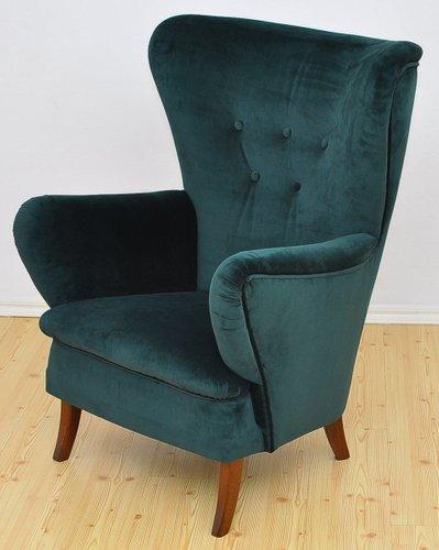 Velvet Wingback Armchair 1950s For, Green Velvet Wing Chair