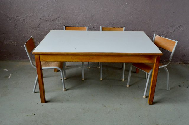 Vintage Childrens Table Chairs Set Of 5 For Sale At Pamono