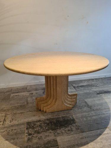 Vintage Round Travertine Dining Table, Vintage Round Table