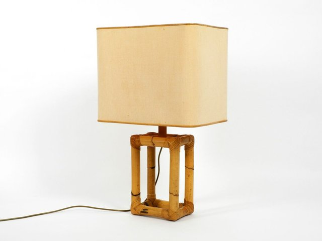 Large Bamboo Table Lamp 1960s For, Square Wood Table Lamp Base