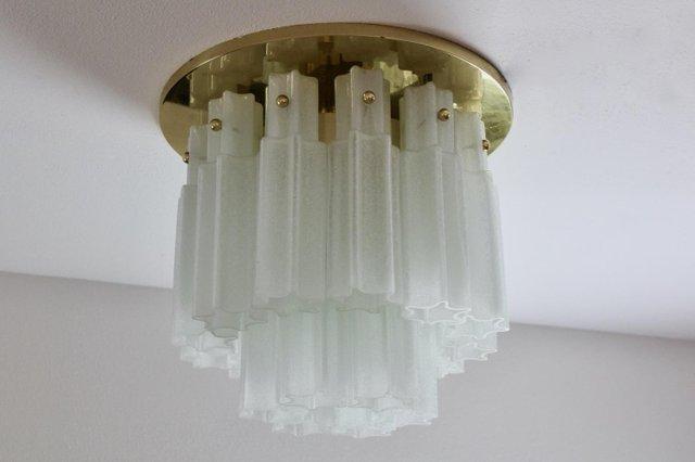 Large Brass Frosted Glass Star Flush Mount From Glashütte Limburg For Sale At Pamono