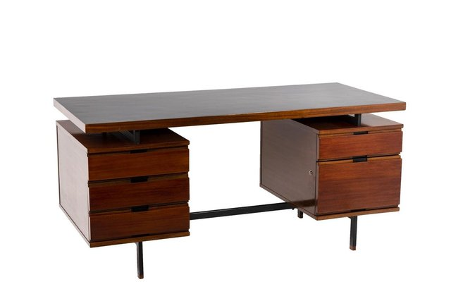 Desk In Mahogany And Lacquered Metal By Pierre Guariche 1960s For Sale At Pamono
