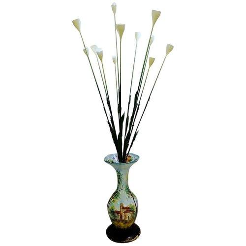 Italian Ceramic Vase Flowers Floor Lamp, Flower Vase Floor Lamp