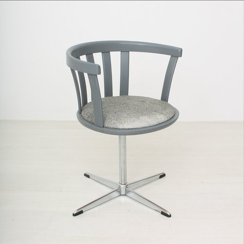 Grey Vintage Swivel Armchair, 1970s For Sale At Pamono