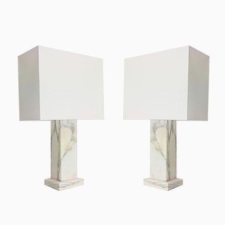 Regency Carrara Marble Table Lamp, Square Marble Base Table Lamp