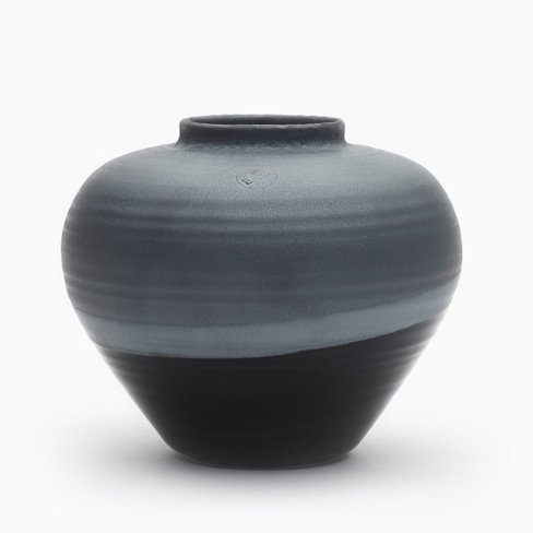 Round Vase In Black By Asahiyaki For Sale At Pamono