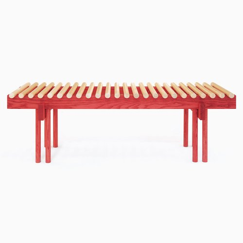 heights bench in ash and red stain by alban le henry bei pamono kaufen. Black Bedroom Furniture Sets. Home Design Ideas