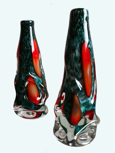 Green Glass Murano Vases 1950s Set Of 2 For Sale At Pamono