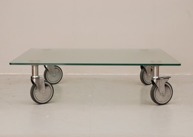 Bon Glass Coffee Table On Wheels For Sale At Pamono