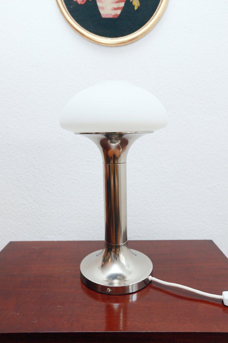 Deutsche Opalglas DDR Tischlampe von VEB Narva, 1970er
