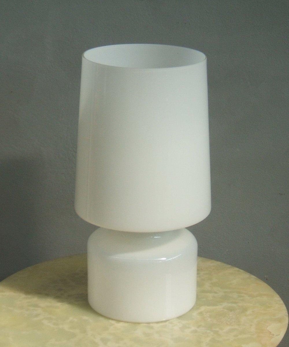 Weiße Mundgeblasene Muranoglas Tischlampe