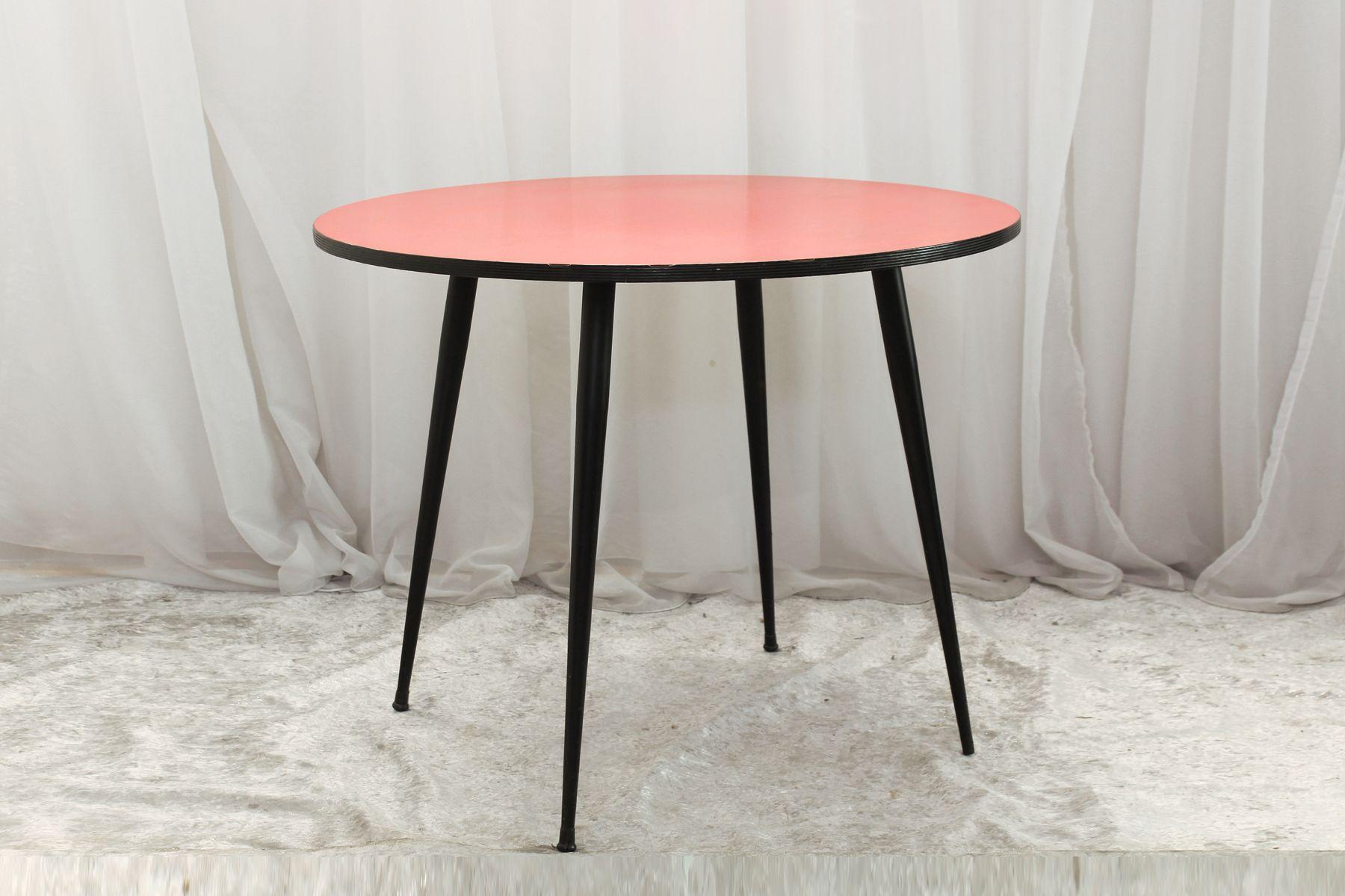 Runder Vintage Tisch aus Resopal, 1950er
