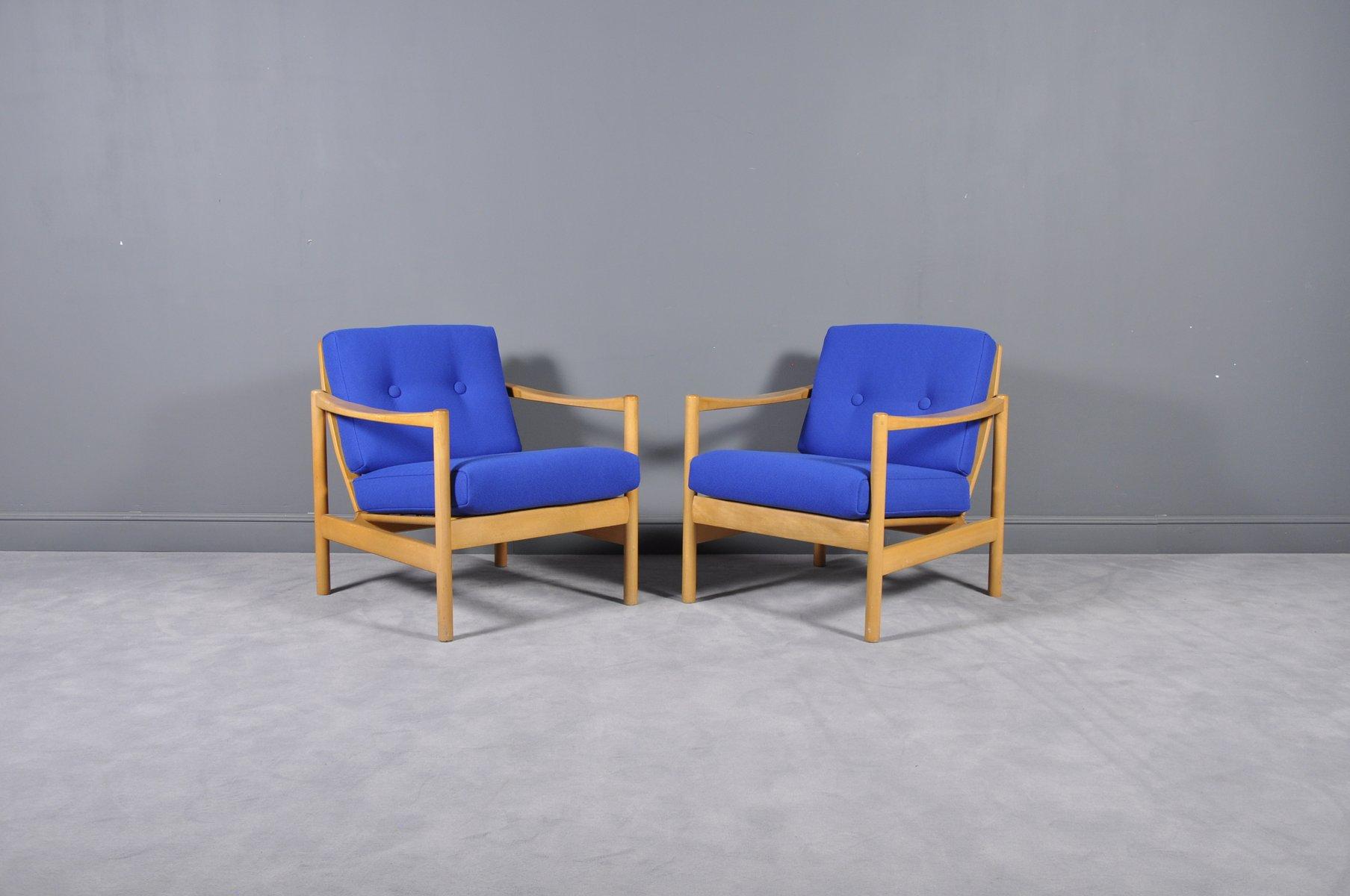 Sessel aus Eiche & Stoff, 1970er, 2er Set