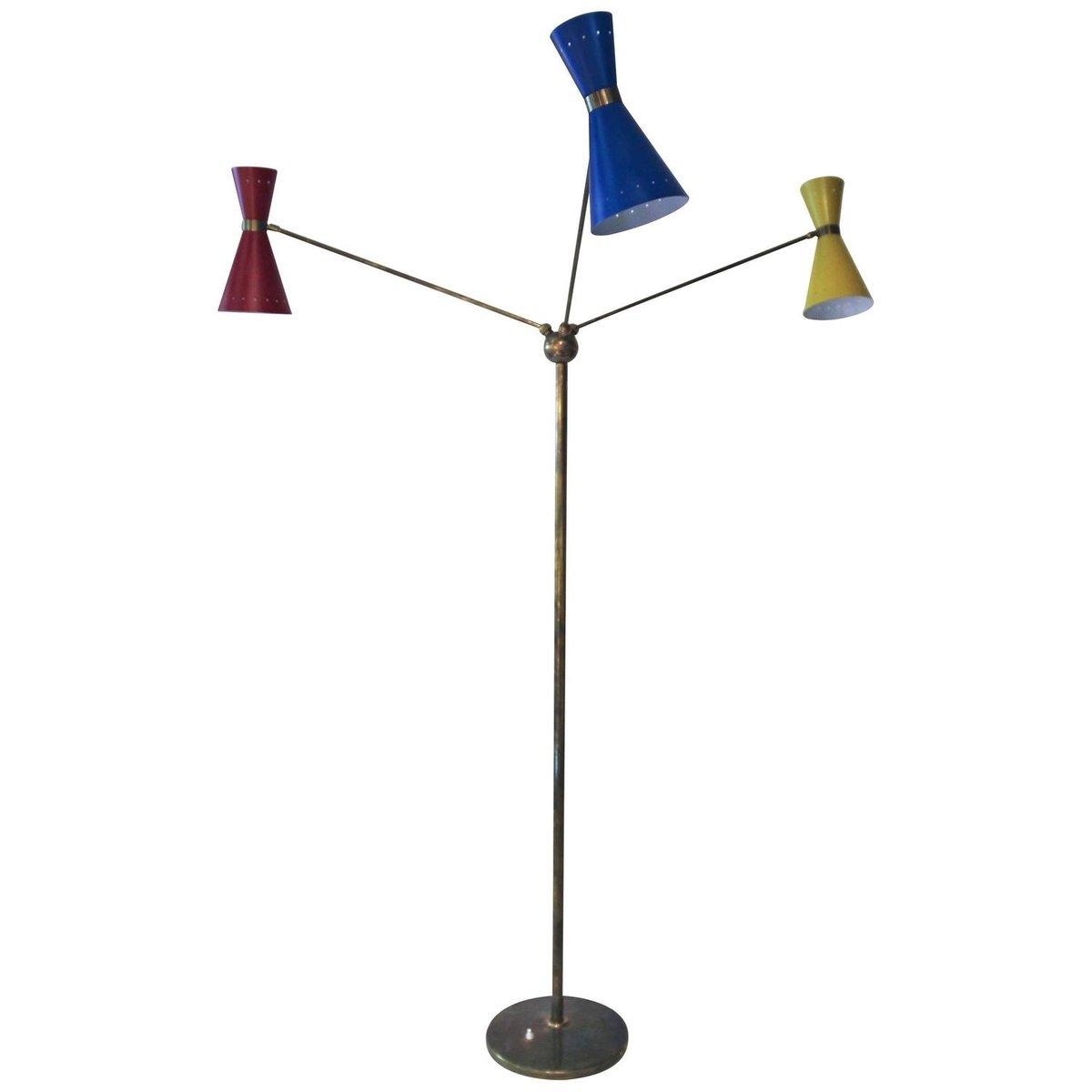 Italienische Triennale Stehlampe aus Messing & Metall mit Drei Leuchte...