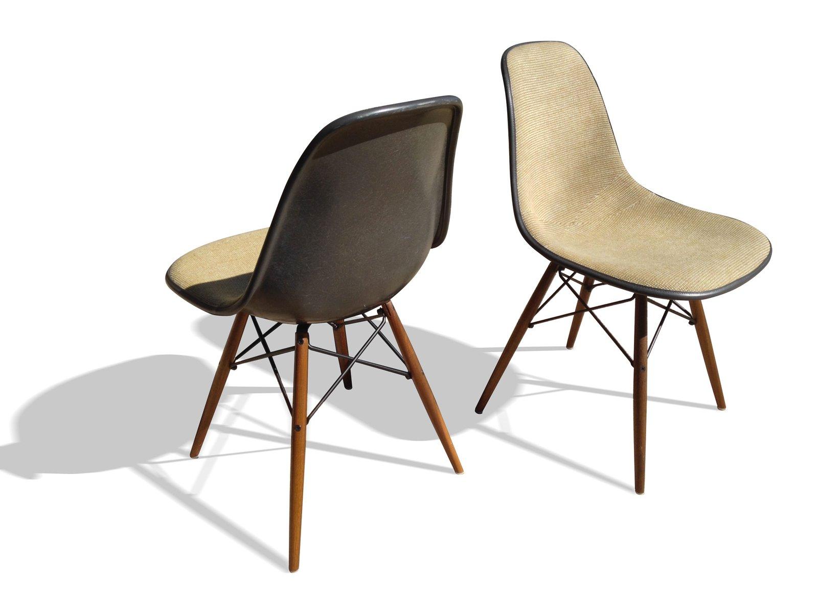 Graue DSW Stühle von Charles und Ray Eames für Herman Miller, 2er ...
