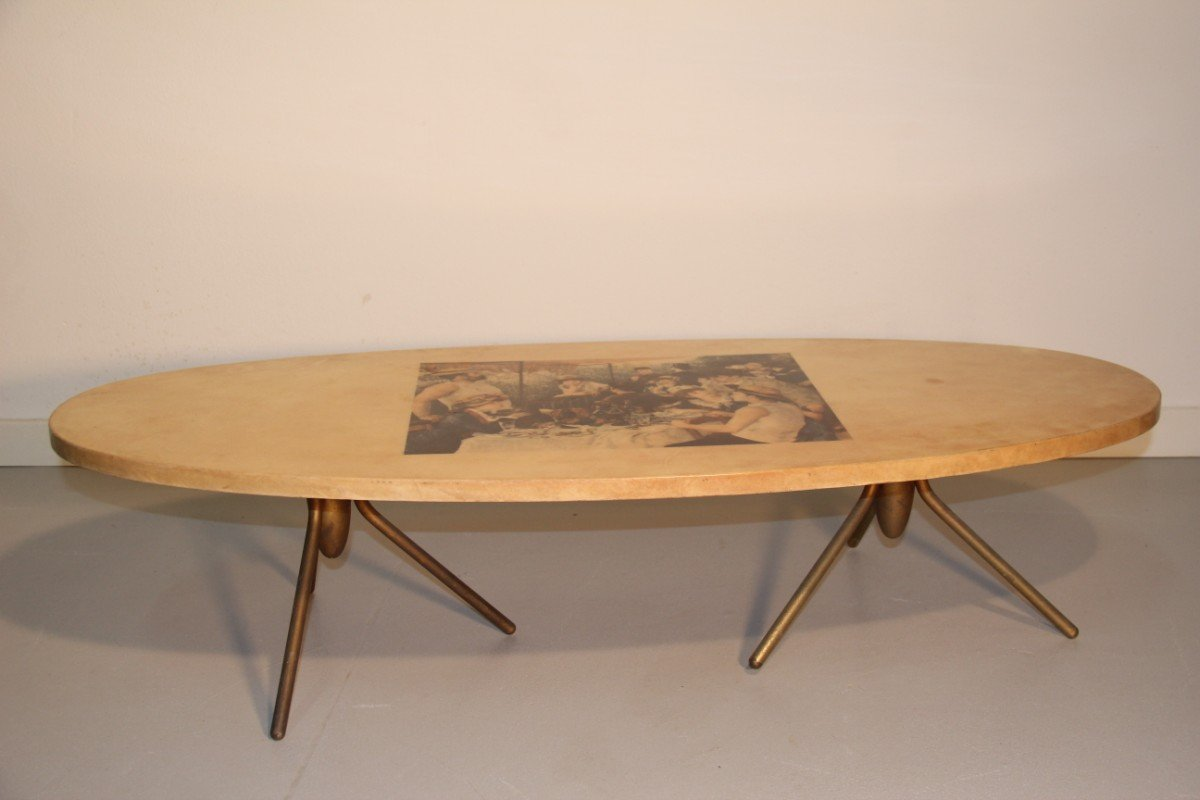 Coffee Table With Gaugin Painting By Aldo Tura 1950