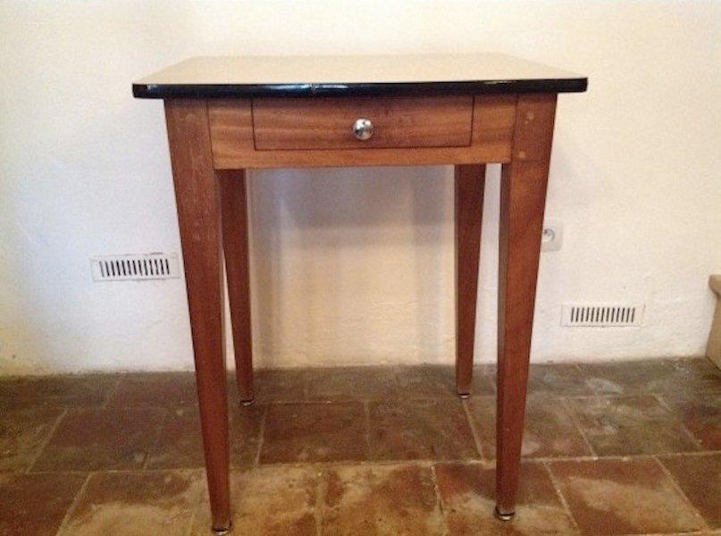 petit bureau vintage en ch ne et formica en vente sur pamono. Black Bedroom Furniture Sets. Home Design Ideas