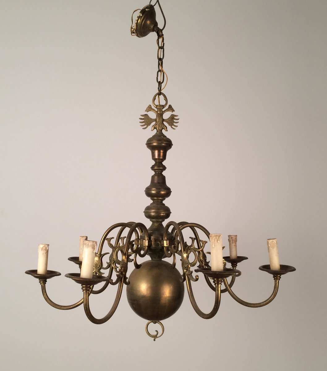 Vintage bronze and brass chandelier 1940s for sale at pamono vintage bronze and brass chandelier 1940s aloadofball Image collections