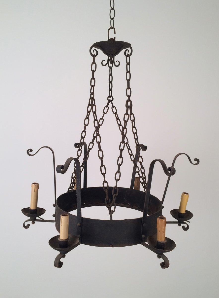 Kronleuchter aus Schmiedeeisen mit 6 Kerzenhaltern, 1920er