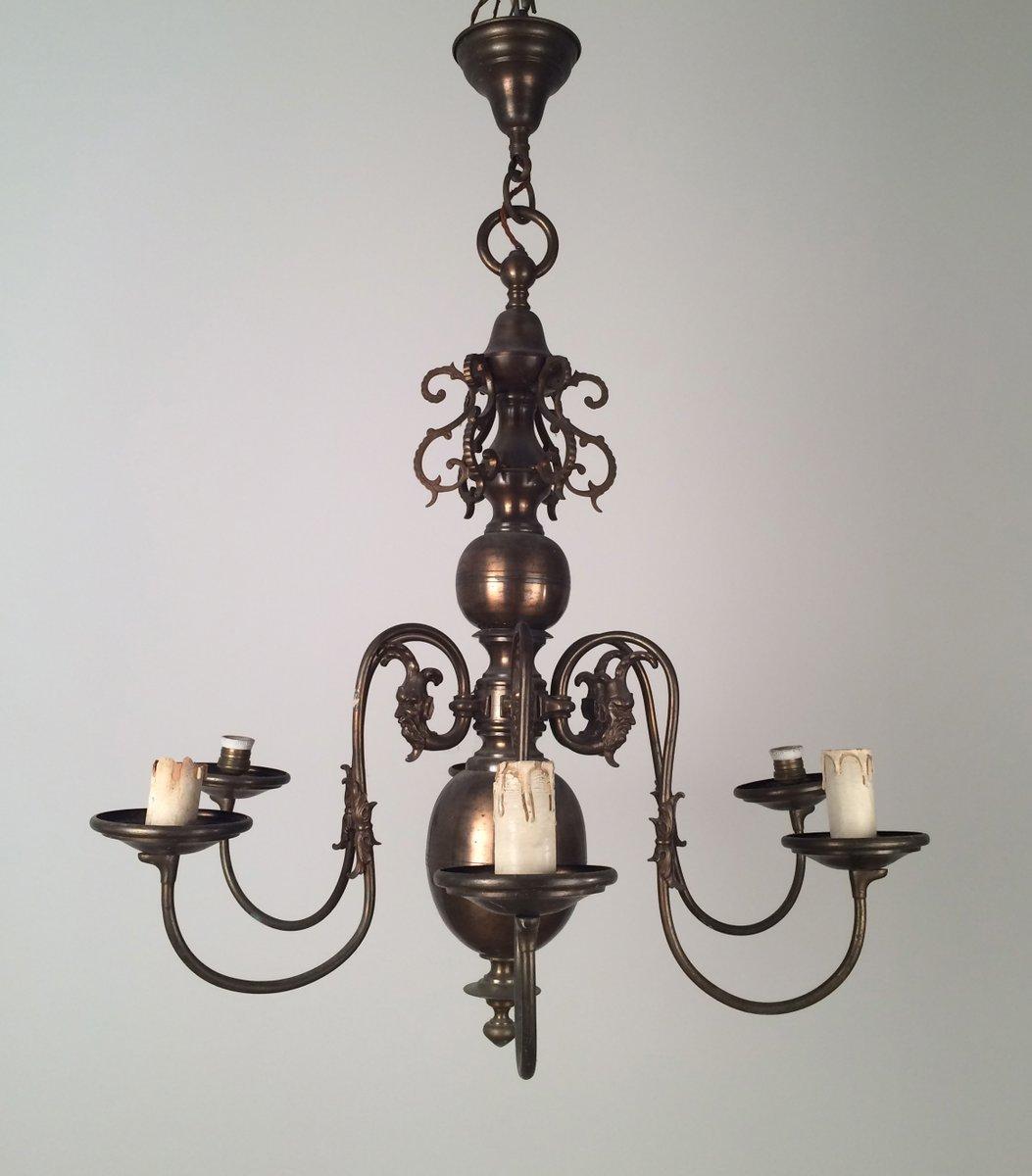 Vintage Kronleuchter aus Bronze & Messing im Niederländischen Stil, 19...