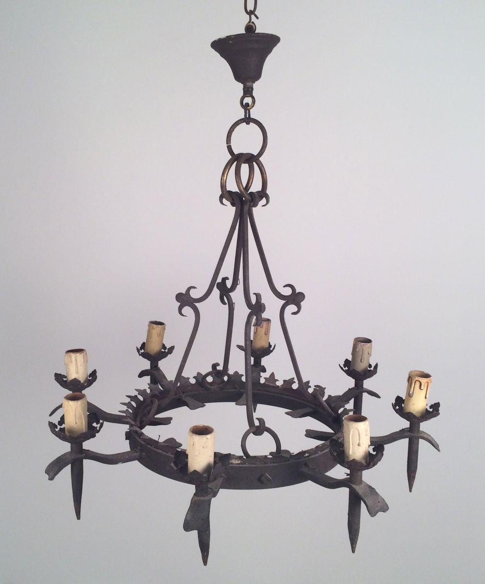 lustre gothique en fer forg avec 8 branches 1940s en vente sur pamono. Black Bedroom Furniture Sets. Home Design Ideas