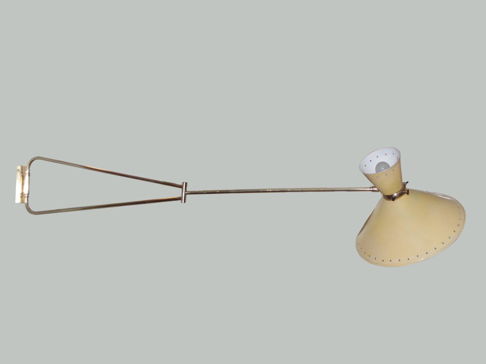 Diabolo Wandlampe mit Pendelarm von Rene Mathieu für Lunel, 1950er
