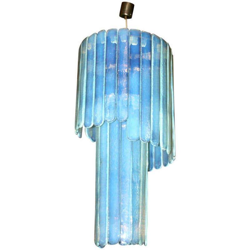 Blaue Deckenlampe aus Murano Glas von Leucos, 1970er