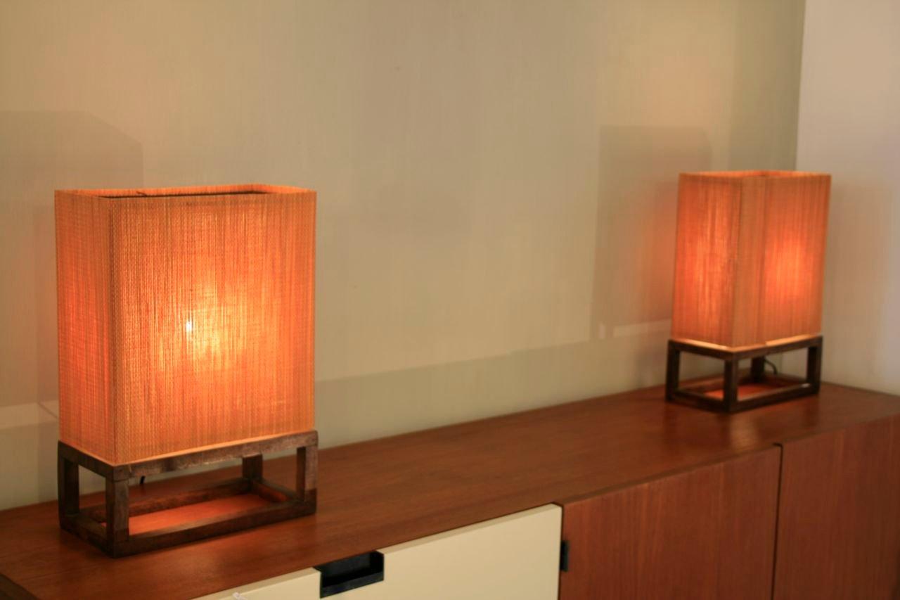 Lampade da parete vintage in legno arancione, set di 2 in vendita su Pamono
