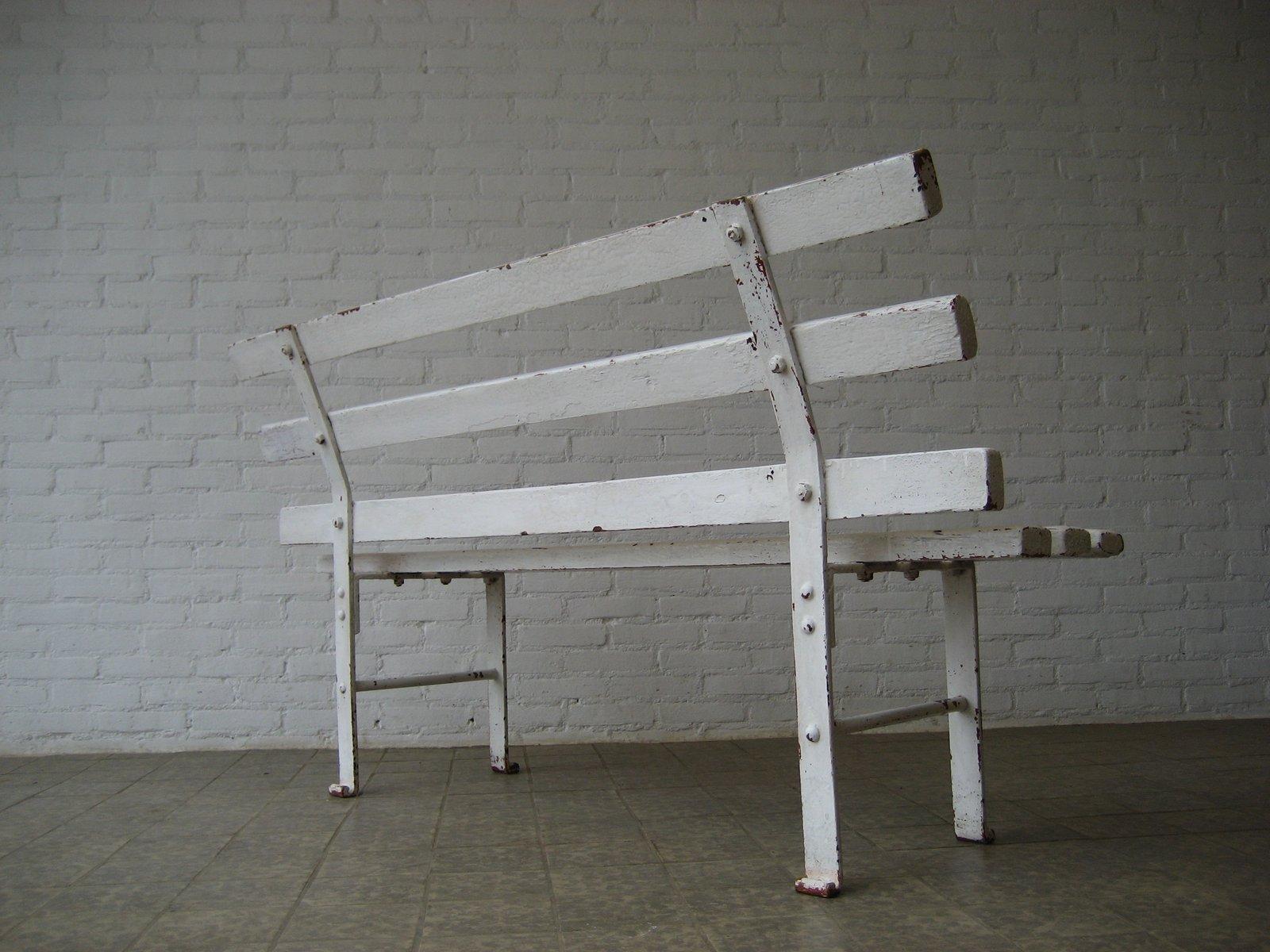 franz sische sitzbank aus holz stahl 1950er bei pamono kaufen. Black Bedroom Furniture Sets. Home Design Ideas