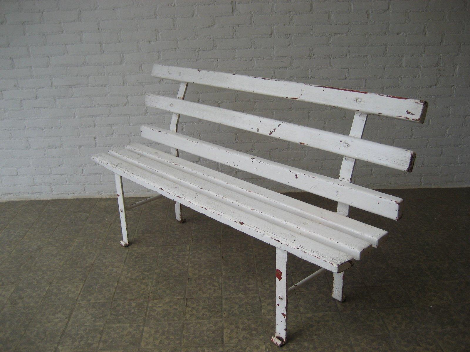 Französische Sitzbank aus Holz & Stahl, 1950er