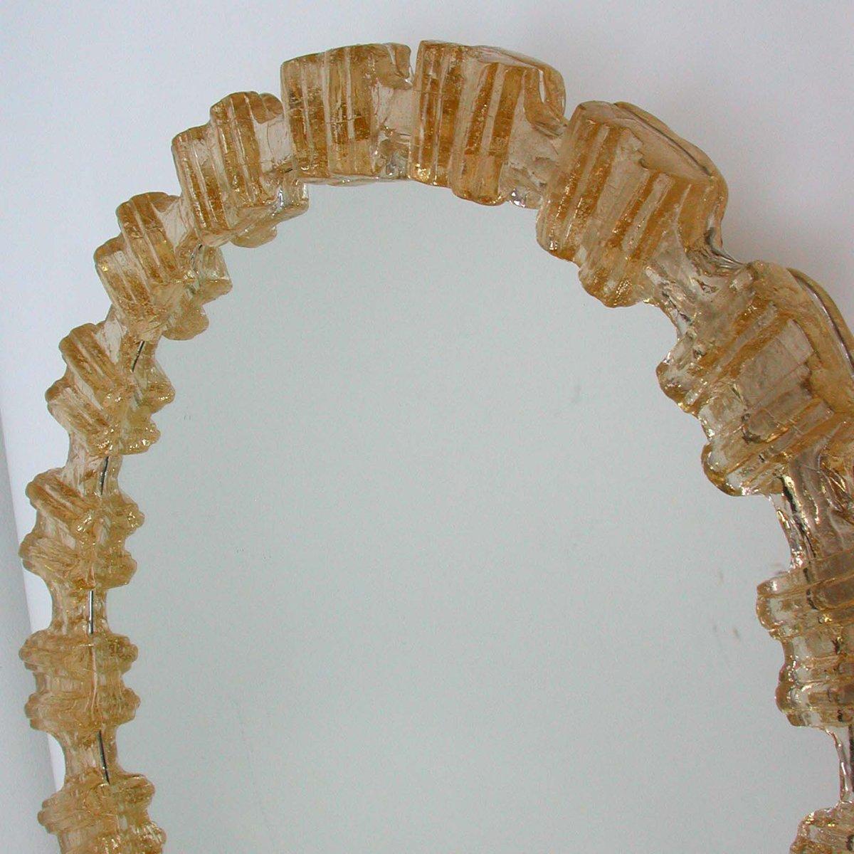 Miroir r tro clair nos mid century en verre givr ambr - Miroir retro eclaire ...