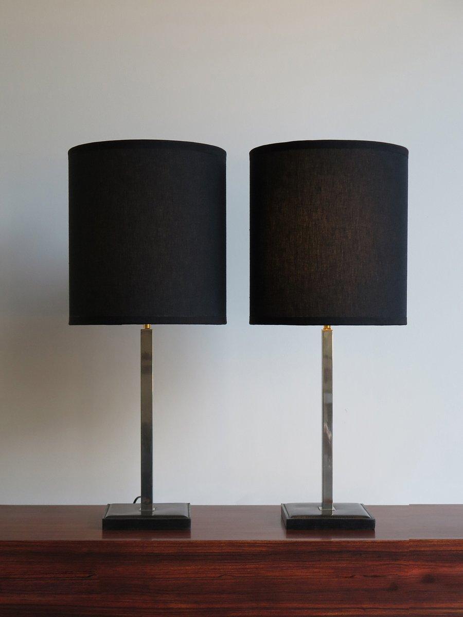 Belgische Tischlampen aus Leder von Delvaux, 1950er, 2er Set