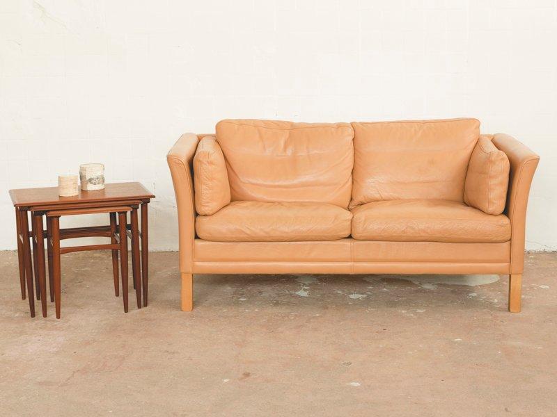 Vintage Zwei-Sitzer Ledersofa von Mogens Hansen