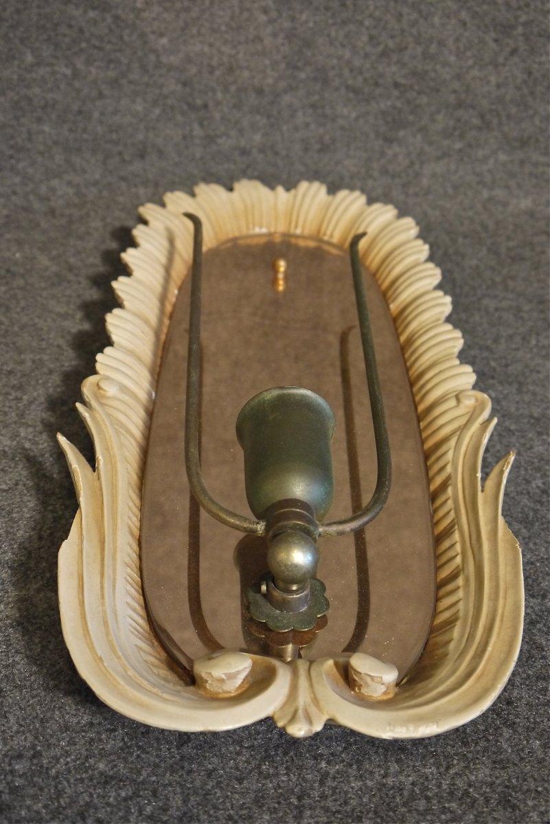 italienische holz spiegel wandleuchten 2er set bei pamono kaufen. Black Bedroom Furniture Sets. Home Design Ideas