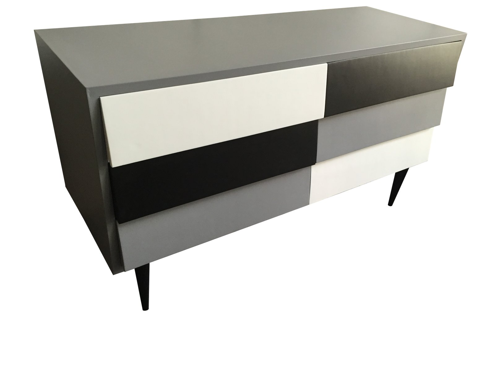 kommode in schwarz grau wei 1950er bei pamono kaufen. Black Bedroom Furniture Sets. Home Design Ideas