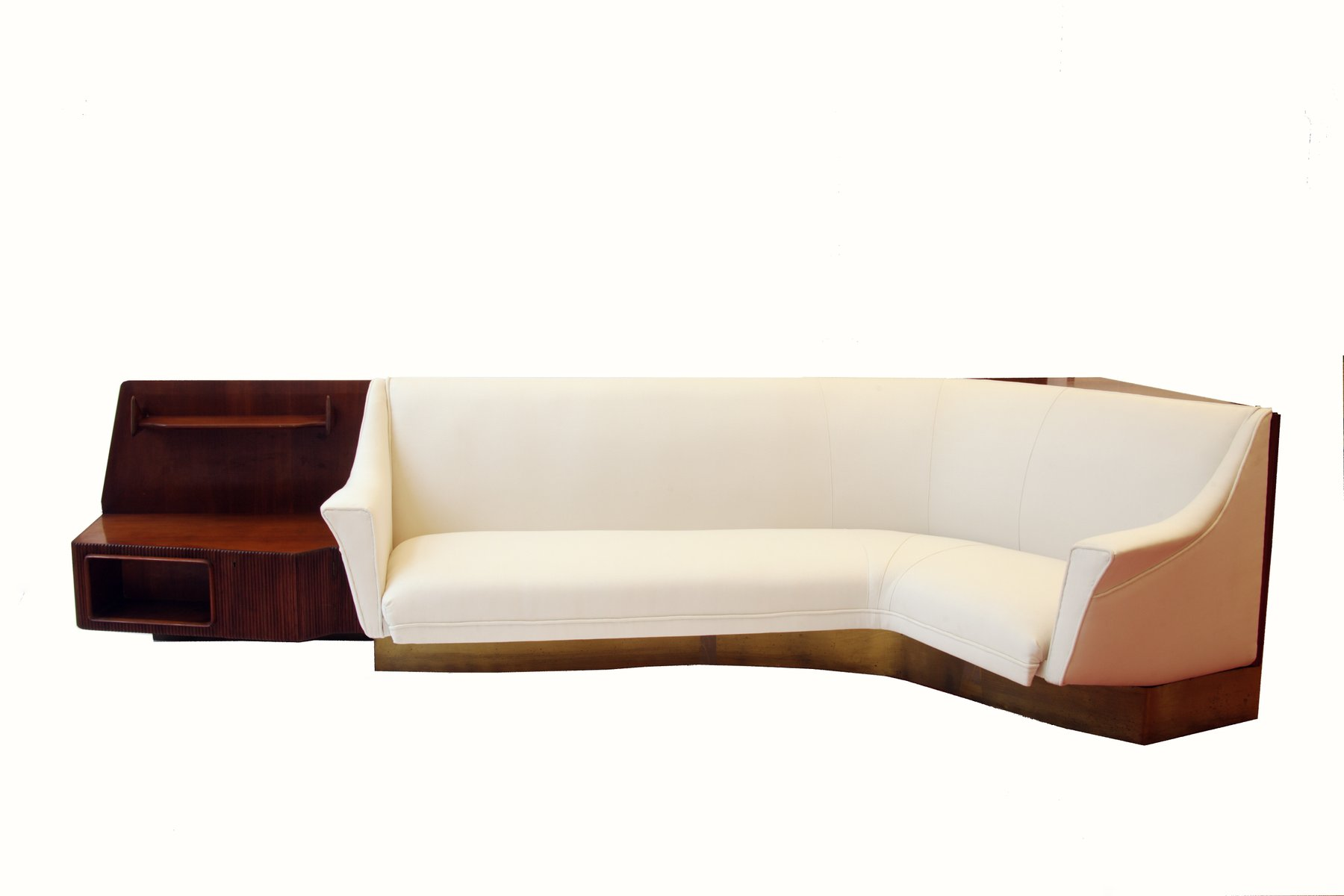 Vintage Curved Conversation Sofa And Shelves 1940s