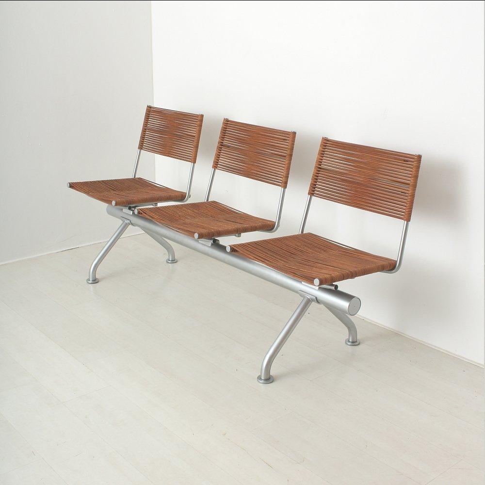 Sitzbank aus Leder und Metall mit drei Stühlen,...