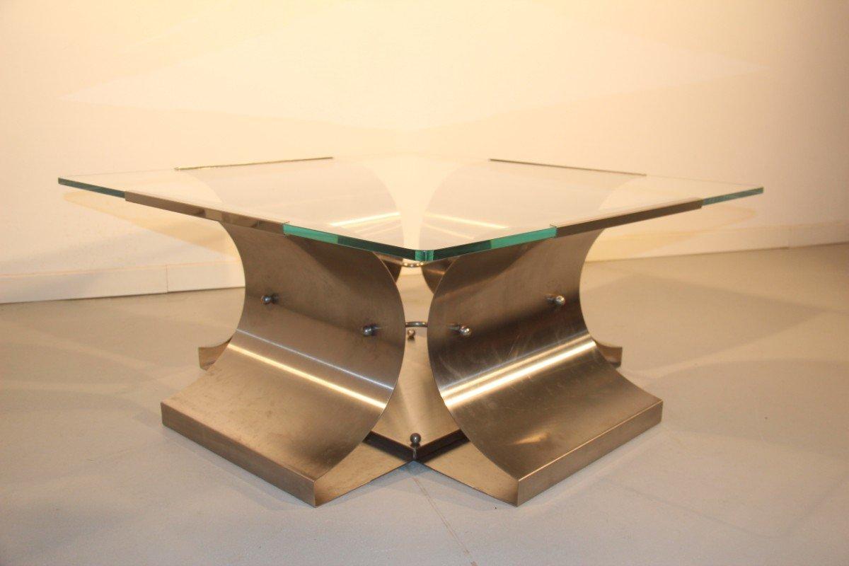table basse en acier et en verre par francois monnet france 1970 en vente sur pamono. Black Bedroom Furniture Sets. Home Design Ideas