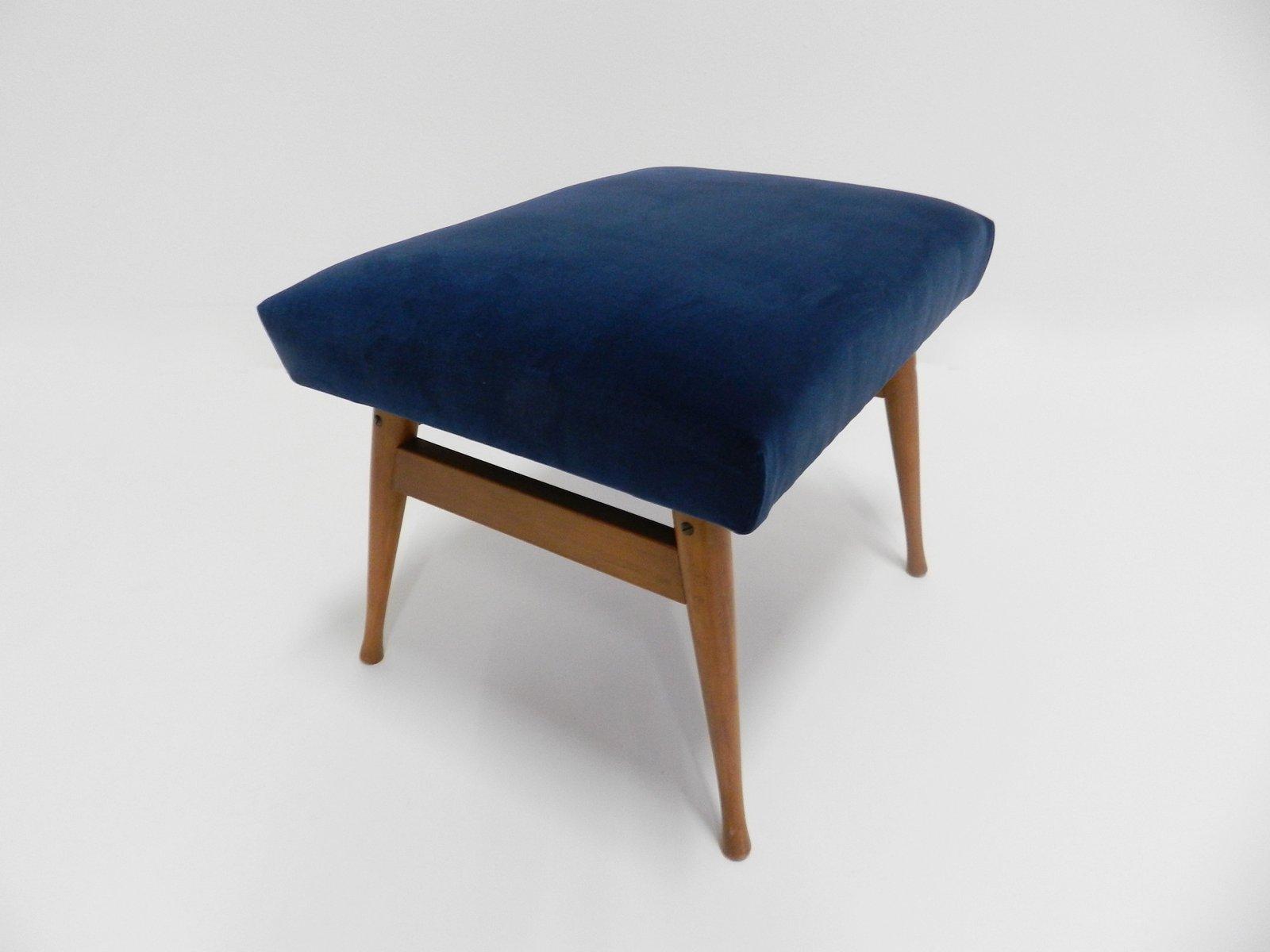 Sgabello royal vintage di velluto blu danimarca in vendita su pamono